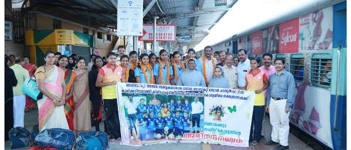 RECEPTION FOR AIU BASKET WINNERS AT THRISSUR RAILWAY STATION